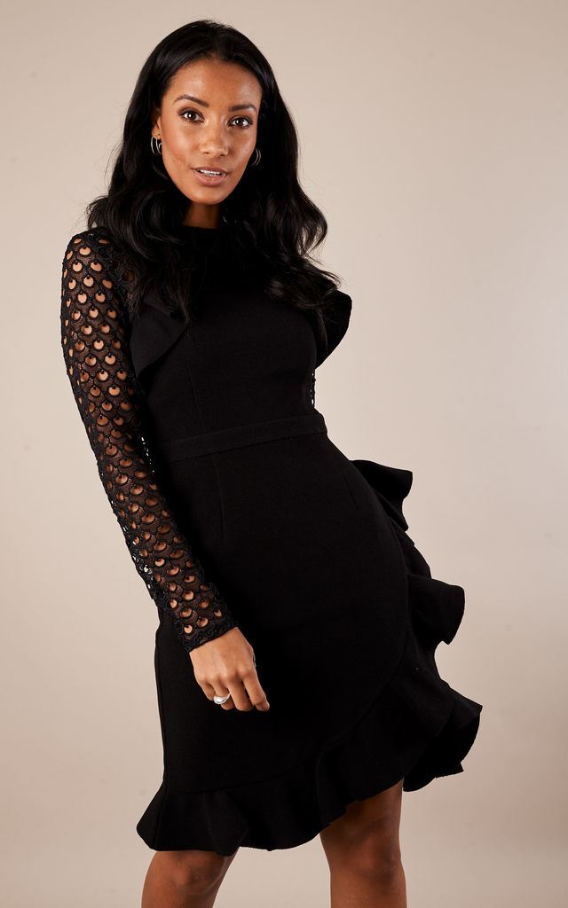 Black Lace Sleeved Side Ruffle Dress by True Decadence