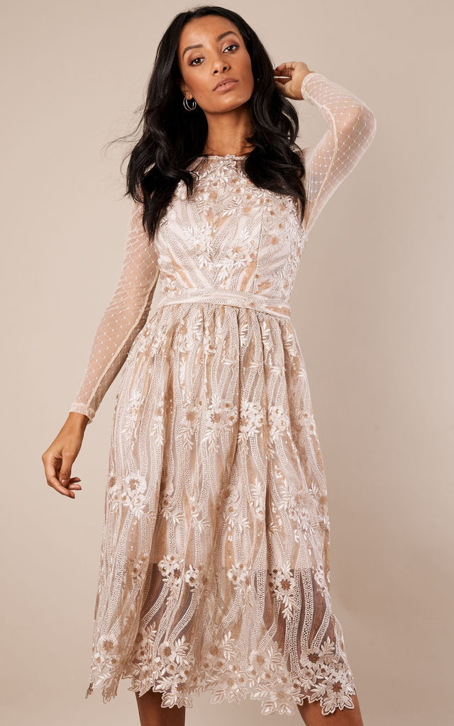 Nude Embroidered Dress with Long Mesh Sleeves by True Decadence