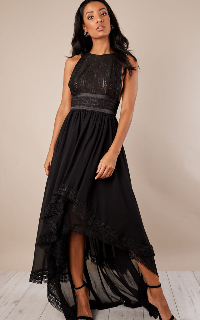 Strapless Lace Top Black Dress with Waisty Band by True Decadence