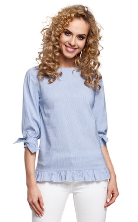 Blue Striped Blouse Catches An Eye With Its Frill Hem At The Bottom And Tied Short Sleeves by MOE
