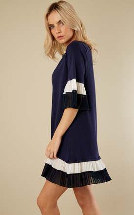 Navy Pleated Sleeve Smock Jumper Dress by Lilah Rose