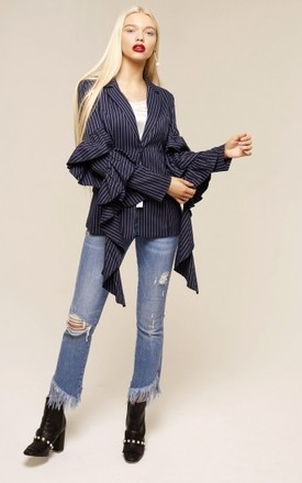 UNIQUE21 Navy Ruffle Sleeved Tailored Blazer by UNIQUE21