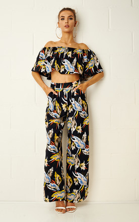 Balyie Tropical Print Two Piece Trouser Set In Navy by Frontrow Limited