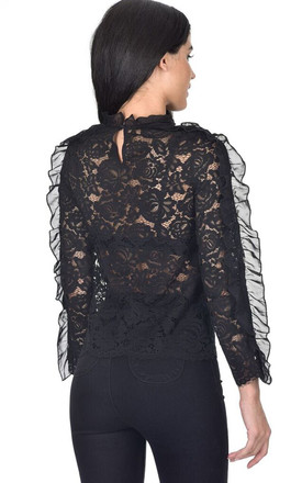 BLACK HIGH NECK LACE RUFFLE DETAIL TOP by AX Paris