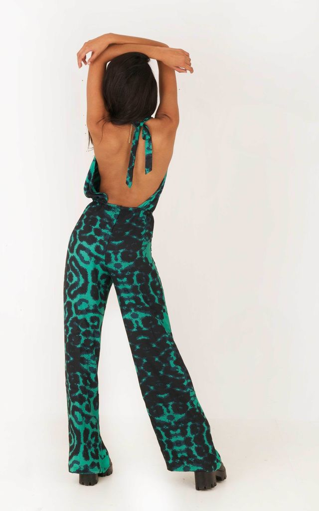 Voodoo Love Backless Flared Jumpsuit  - Green Kaleidoscope by Indigo East