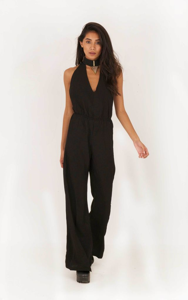 Voodoo Love Backless Flared Jumpsuit - Black by Indigo East