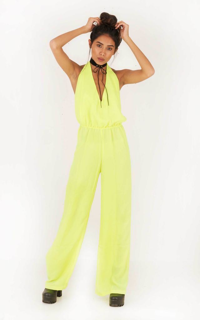 Voodoo Love Backless Flared Jumpsuit  - Lime by Indigo East