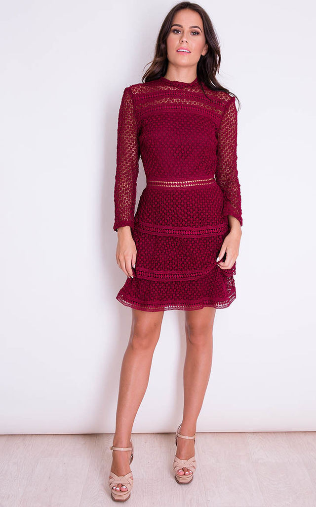 Ivy Long Sleeve Lace Frill Mini Dress Berry By In Mind