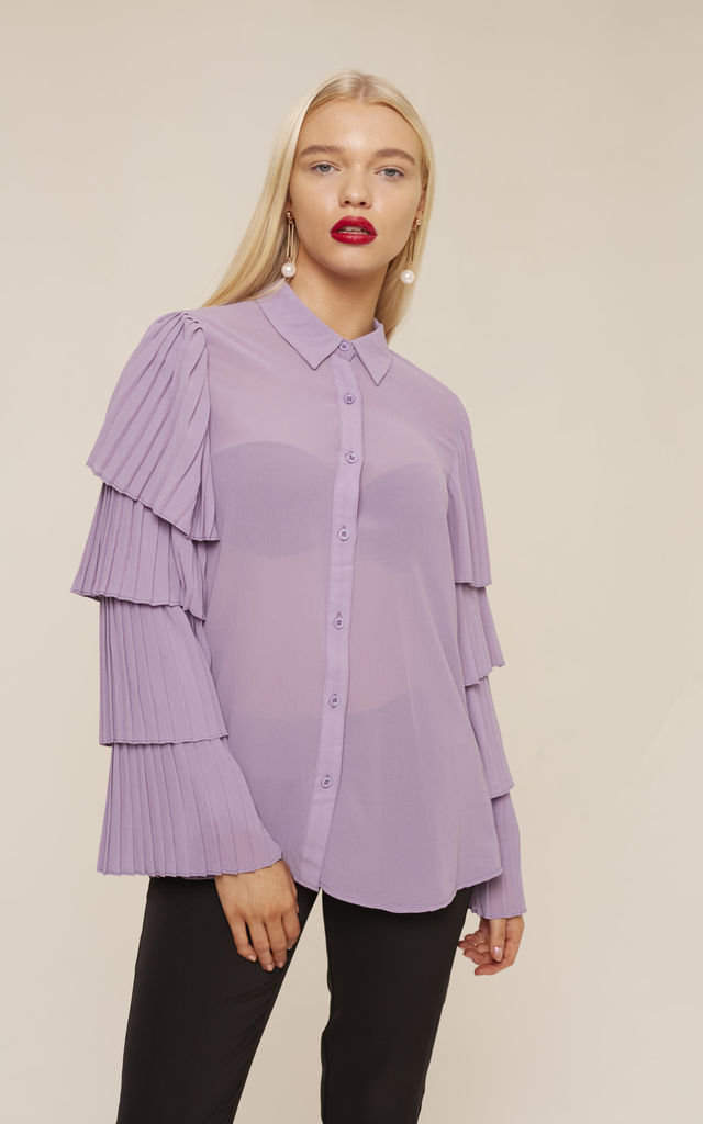 Lilac Ruffled Sleeved Shirt by UNIQUE21