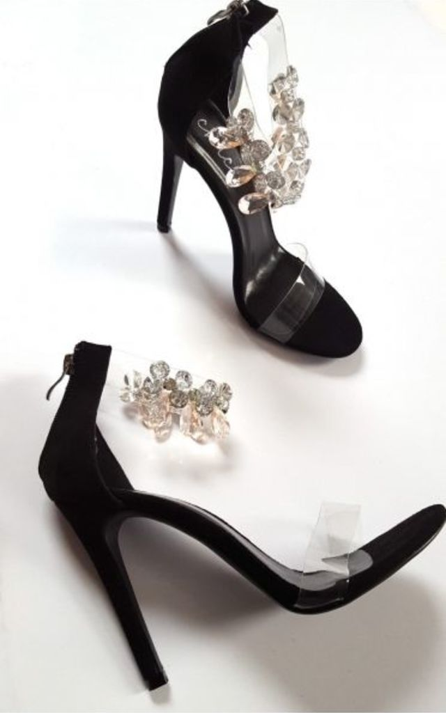 Black Jewelled Clear Strap Heels by The Fashion Bible