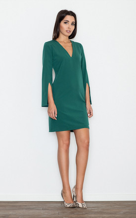 Green V-Neck Dress with Slits on Sleeves by FIGL
