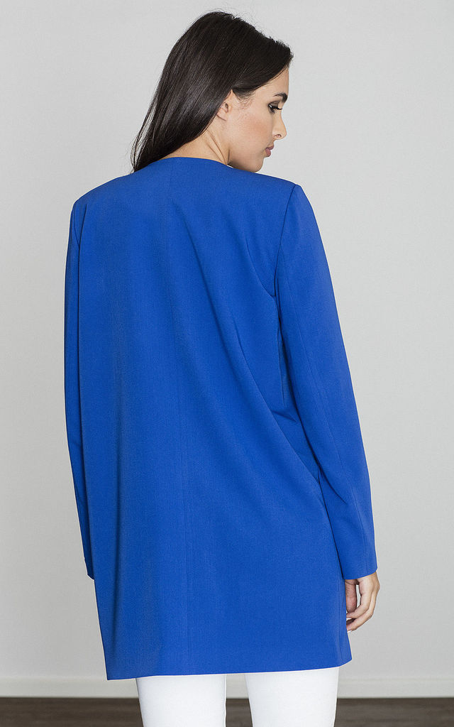 Blue Cape Coat without Fastening by FIGL