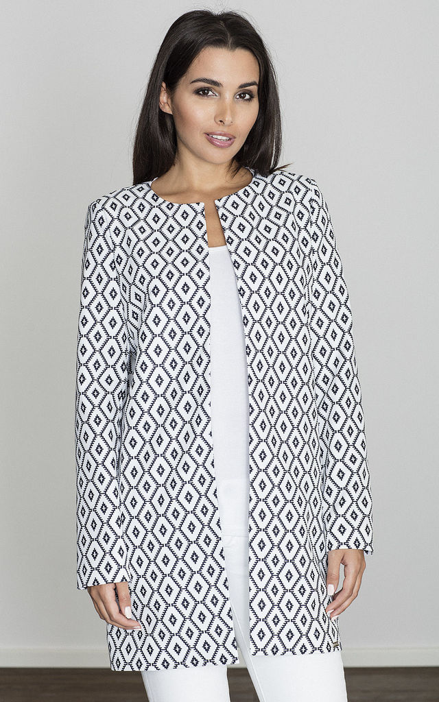 White/Black Patterned Cape Coat without Fastening by FIGL