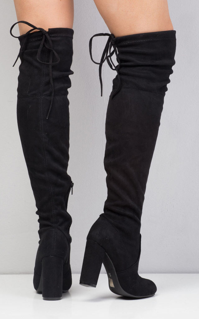 Thigh High Tie Back Faux Suede Heeled Boots Black by LILY LULU FASHION