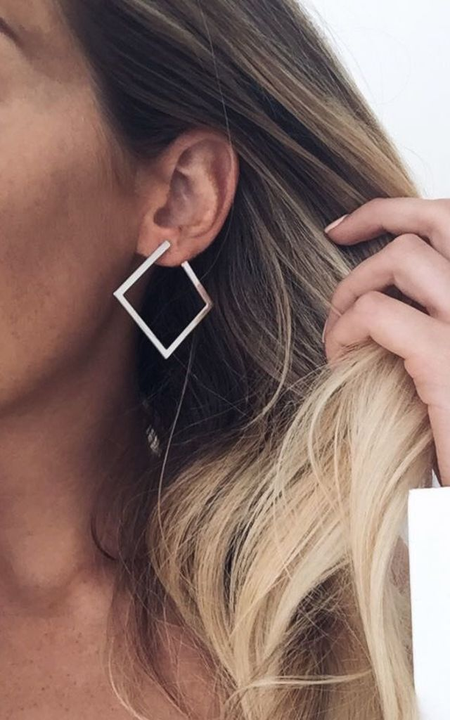 Open Square Geometric Earrings - Silver by Pretty Lavish