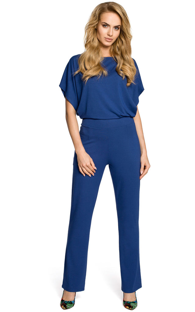 Blue Lightweight And Airy Jumpsuit with Short Sleeves by MOE