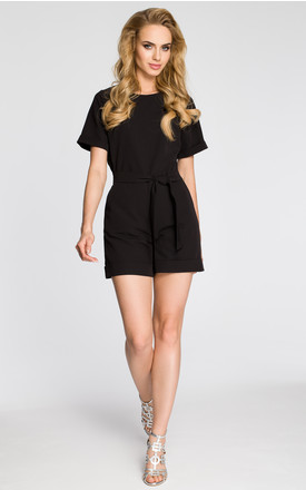 Black Jumpsuit With Short Sleeves And Cuffs by MOE