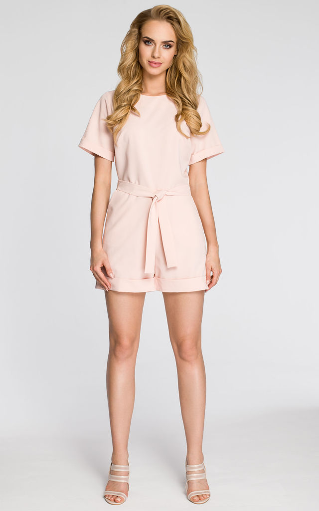 Powder Tied  Jumpsuit With Short Sleeves And Cuffs by MOE