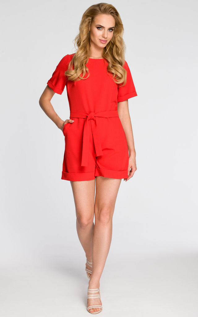 3923f49dbc8 Red Tied Playsuit With Short Sleeves And Cuffs by MOE