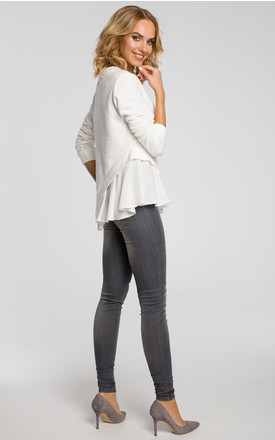 Ecru knit long sleeve top with woven insert detail by MOE