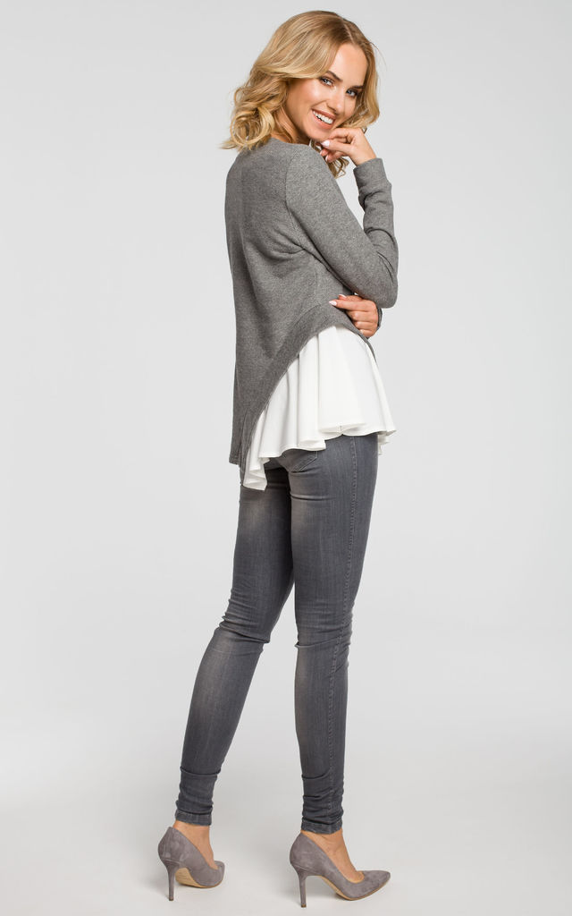 Grey knit long sleeve blouse with woven insert detail by MOE