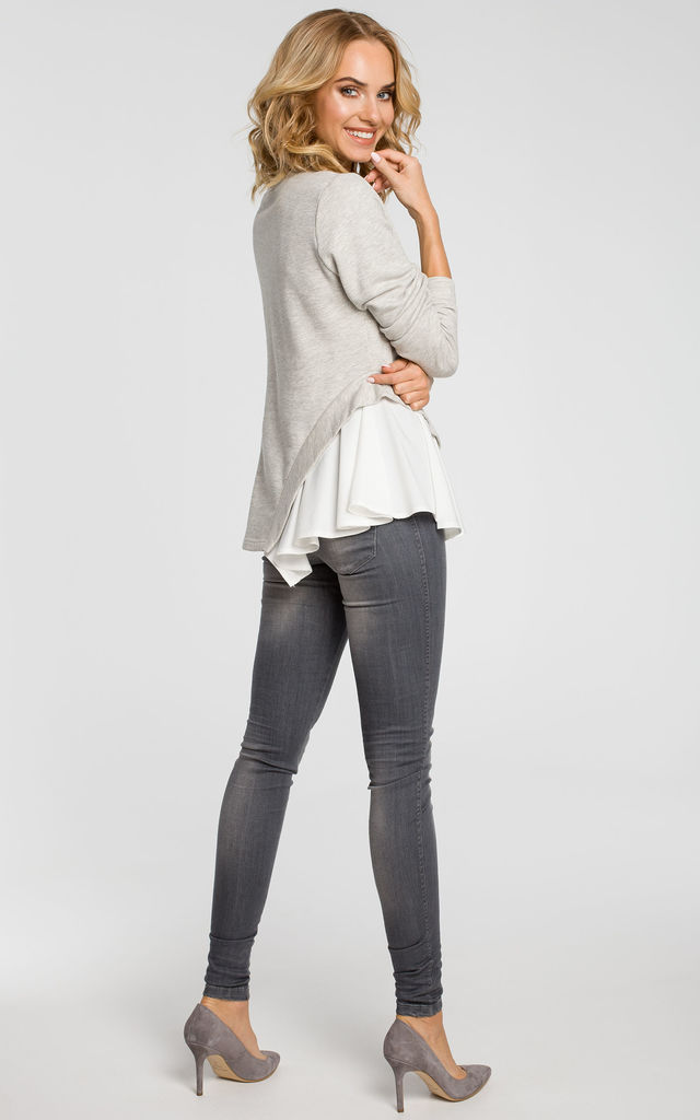 Light Grey knit long sleeve blouse with woven insert detail by MOE