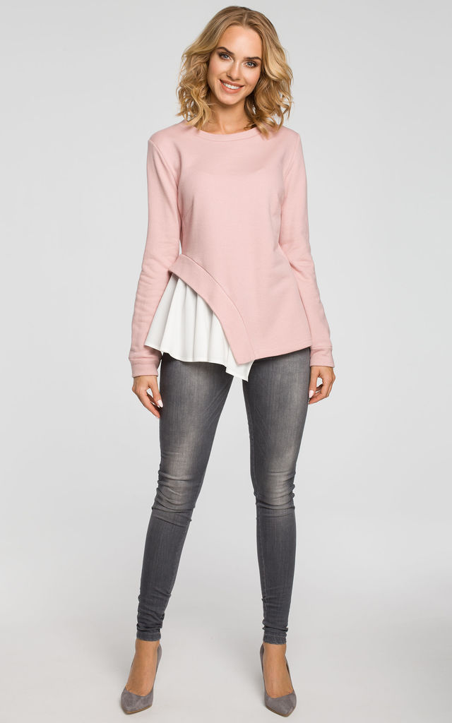 Pink knit long sleeve top with woven insert detail by MOE