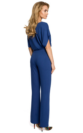Short Batwing Sleeve Jumpsuit in Blue by MOE