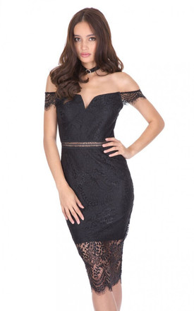 BLACK LACE OFF THE SHOULDER DRESS by AX Paris