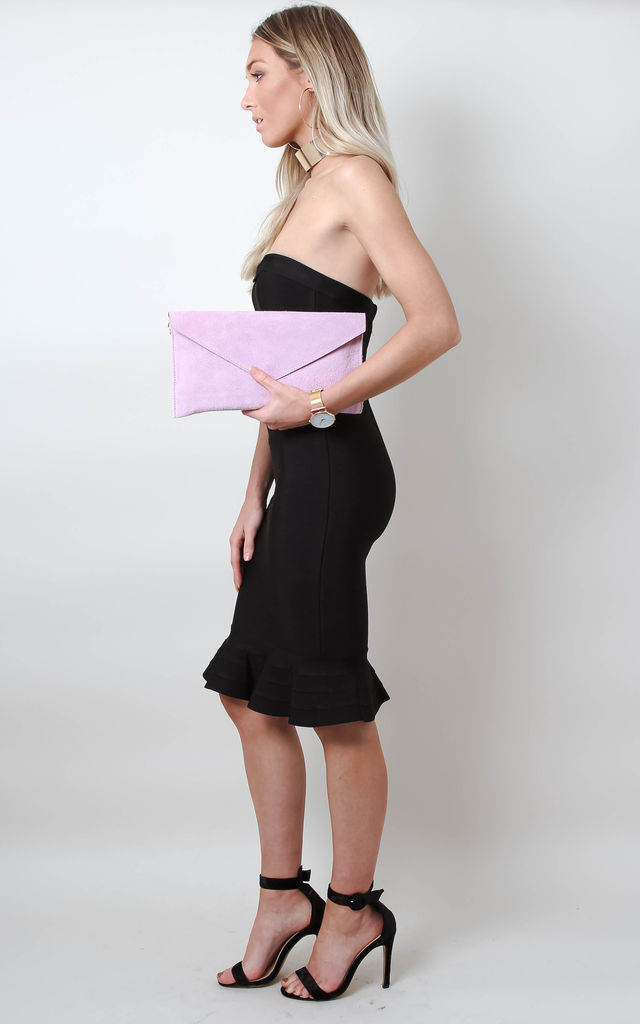 Suede Envelope Clutch Bag - Pink by Pretty Lavish