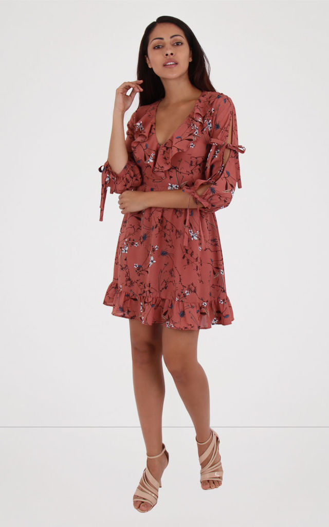 Pink Floral Print Plunge Neck Tie Sleeve Detail Frill Tea Dress by MISSTRUTH