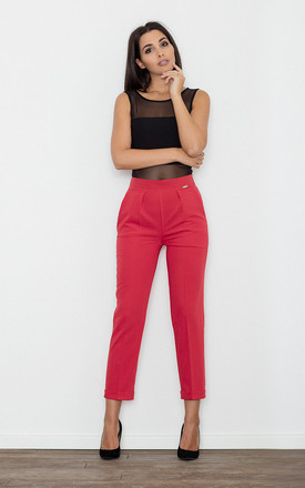 Red Cropped Elegant Trousers by FIGL