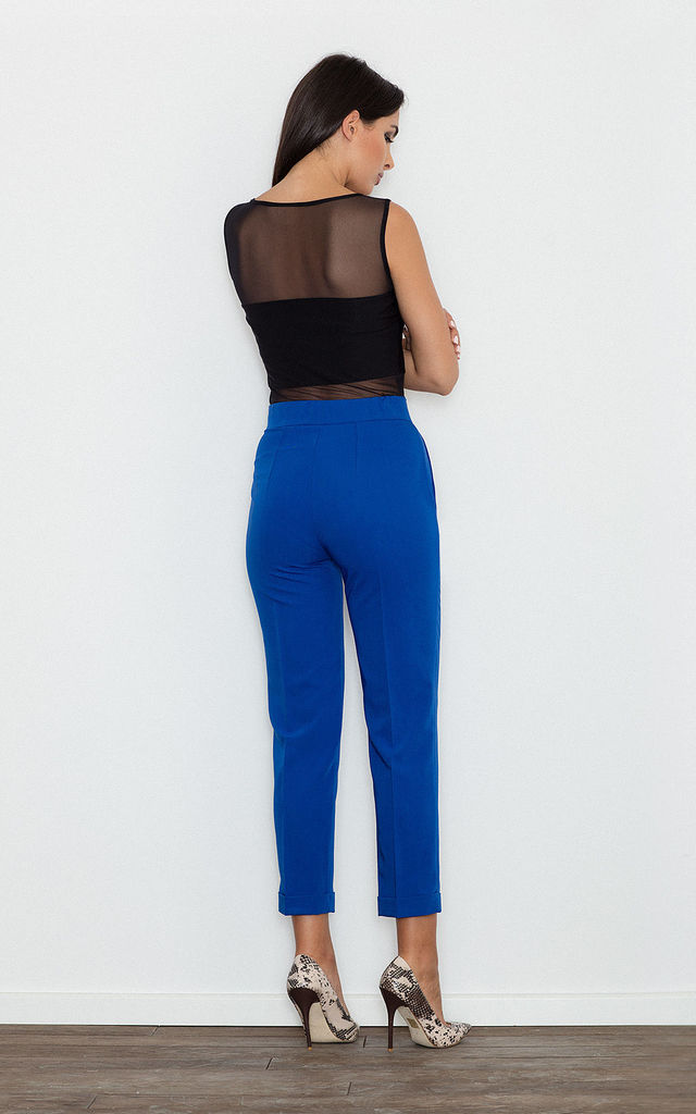 Blue Cropped Elegant Trousers by FIGL