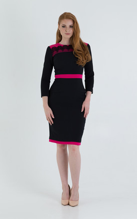 midi pencil Black Dress 3/4 Sleeve With Contrast Inserts by JEVA FASHION