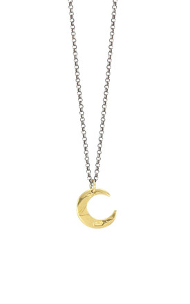 Gold And Black Petite Lune Necklace by AVALANCHE JEWELLERY Product photo