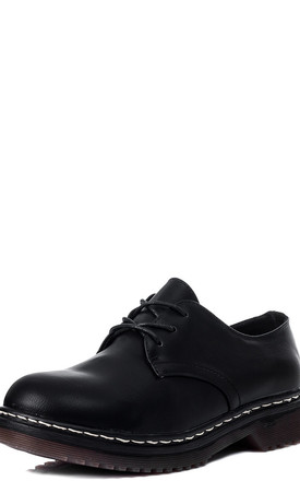COOGEE Lace Up Flat Shoes - Black Leather Style by SpyLoveBuy
