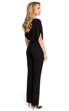 Short Batwing Sleeve Jumpsuit in Black by MOE
