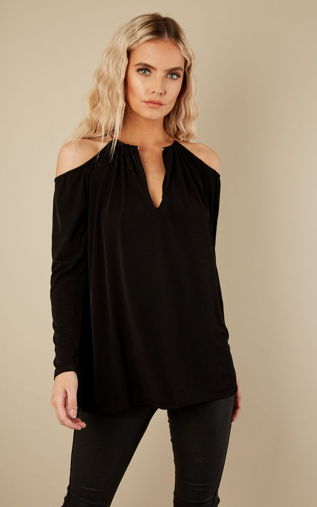 Black V Neck Cold Shoulder Top With Gold Hoop Collar by John Zack