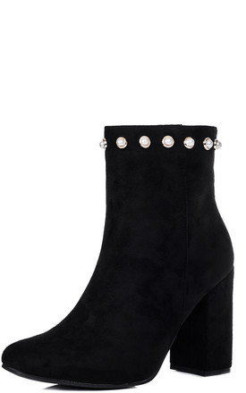DANNA Zip Block Heel Ankle Boots Shoes - Black Suede Style by SpyLoveBuy