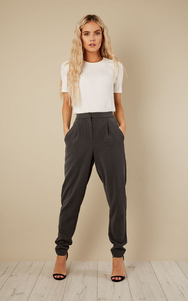 Dark grey melange trousers by VILA