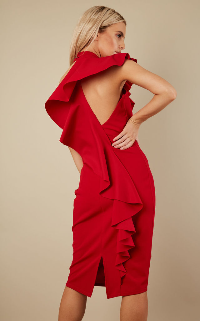 Red Ruffle Dress by Lilah Rose