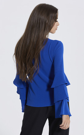 Royal Blue Frill Sleeve Top by Madam Rage