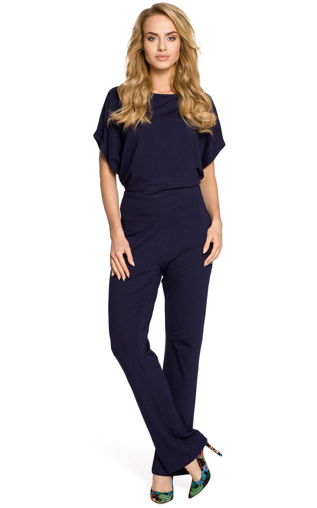 Navy Lightweight And Airy Jumpsuit with Short Sleeves by MOE