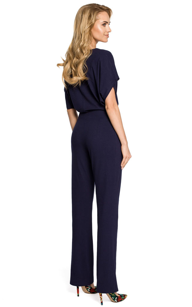 Short Batwing Sleeve Jumpsuit in Navy by MOE