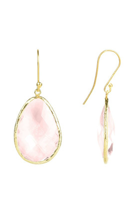 Single Drop Gold Earrings with Rose Quartz Hydro by Latelita London