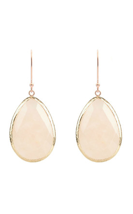 Gold Single Drop Earring Rose Quartz by Latelita Product photo