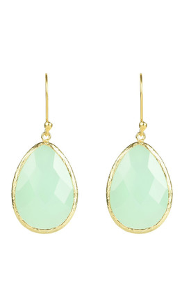 Single Drop Gold Earrings With Aqua Chalcedony by Latelita Product photo