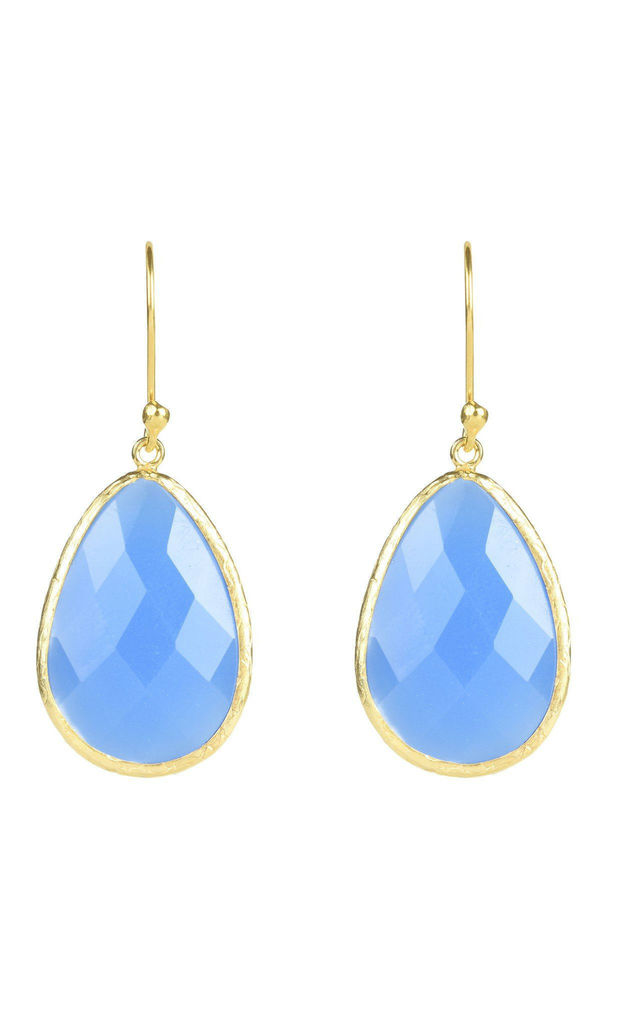 Single Drop Gold Earrings in Dark Blue Chalcedony by Latelita