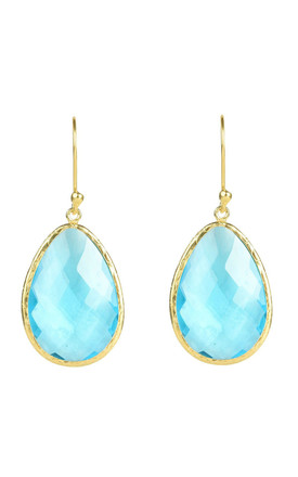 Gold Single Drop Earring Blue Topaz by Latelita Product photo