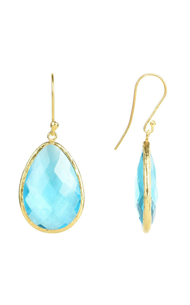 Gold Single Drop Earring Blue Topaz by Latelita